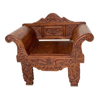 Vintage Balinese Carved Teak Throne Chair With Rolled Arms For Sale
