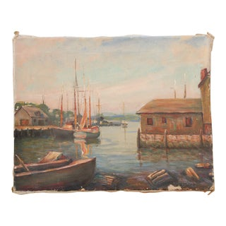 1952 Original Oil Painting of Gloucester Bay For Sale