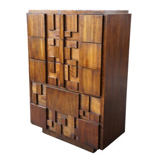 1970s Brutalist Lane Paul Evans Walnut Tallboy Dresser For Sale