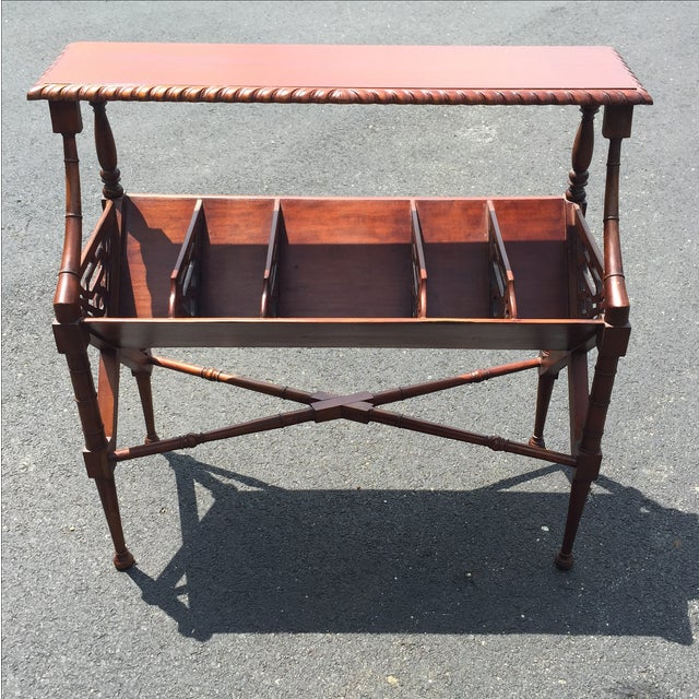 Mahogany Bamboo Chippendale Magazine Table - Image 2 of 10
