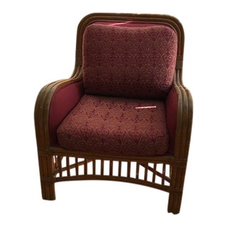 Bamboo Club Chair With Second Set Coordinating Cushion Covers For Sale