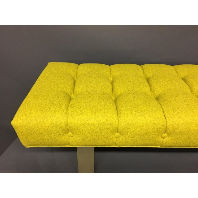 Mid-Century Modern Bright Yellow Tufted Bench on Brass Base For Sale - Image 11 of 11