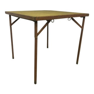 Jacques Adnet Folding Playing Card Table in Brown Leather For Sale