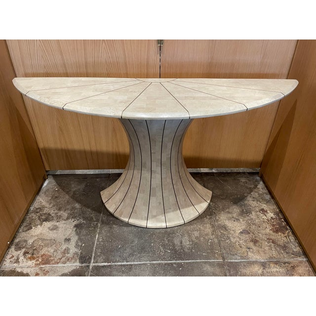 Maitland Smith Tessellated Travertine Demilune Table With Brass Inlay For Sale - Image 13 of 13