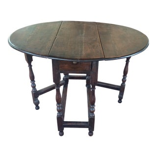 19th Century English Traditional Oak Gate Leg Table For Sale