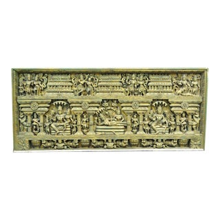 Large 19th Century Asian Thai Buddha Temple Carved Wood Architectural Panel Art For Sale