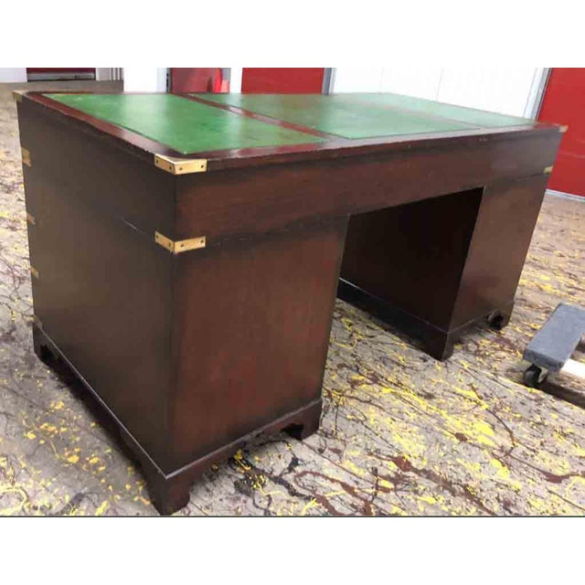 1970s English Campaign Mahogany Brass & Green Leather Partner Desk For Sale - Image 4 of 8
