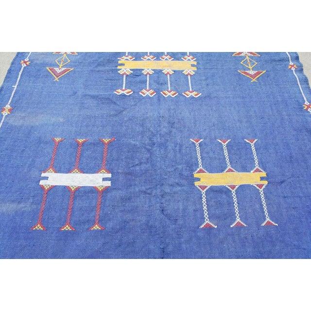 "Moroccan Indigo Blue Cactus Silk Rug- 4'5"" x 8' - Image 3 of 6"