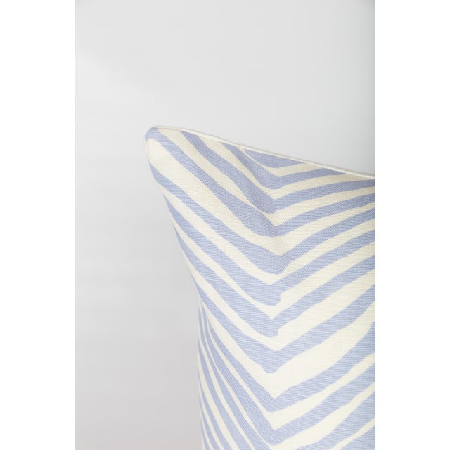 Pair of custom periwinkle-and-ivory pillows made from Alan Campbell's Zig Zag pattern fabric in the periwinkle colorway....