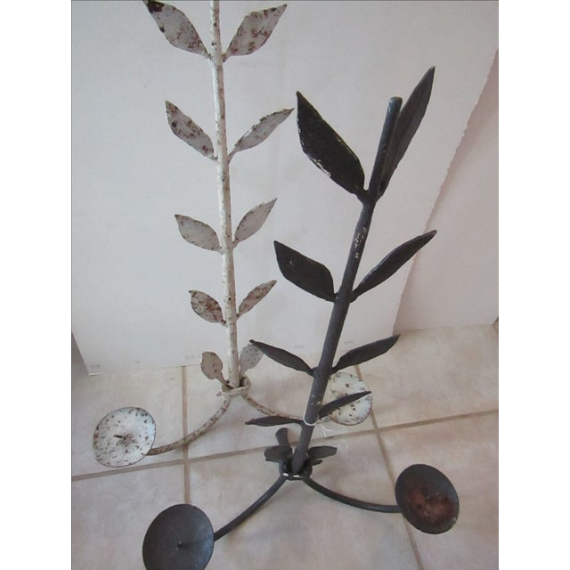 Antique Hand Forged Iron Candle Holders - Pair - Image 3 of 3