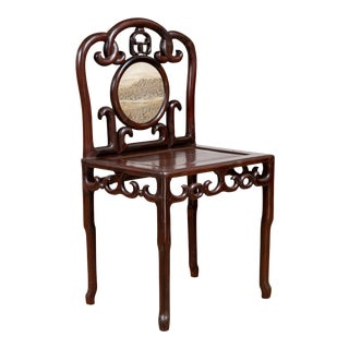 Chinese Antique Rosewood Side Chair with Open Fretwork and Marble Medallion For Sale