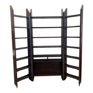 Vintage 3 Section Fold Out Wooden Shelves With Magazine Enclave For Sale