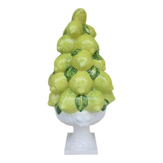 Italian Majolica Lemon Topiary With Lion Heads For Sale