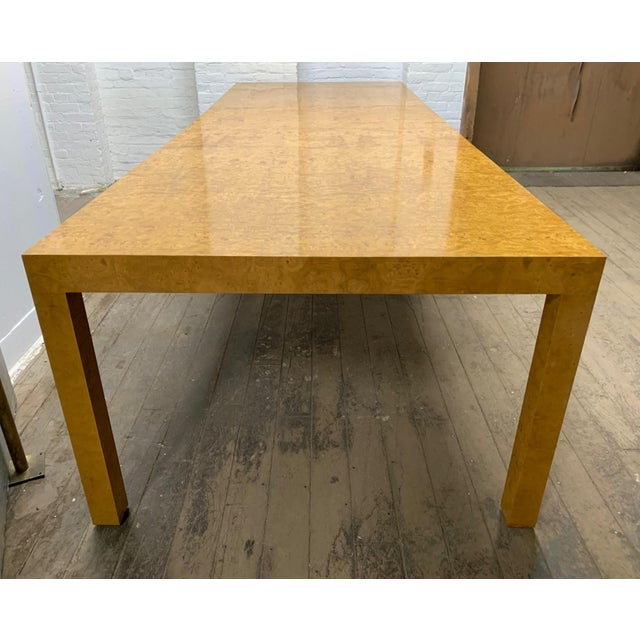 Mid-Century Modern Milo Baughman Burl Wood Dining Table With Two Leaves For Sale - Image 3 of 8