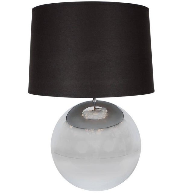 "Mid-Century ""Ball"" Table Lamp in Chrome in the Style of Karl Springer For Sale - Image 9 of 9"