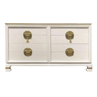 1950s Chinoiserie 8-Drawer Dresser With Gold Face Plates For Sale