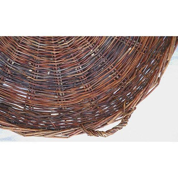 Large French Woven Willow Grape Harvest Basket - Image 4 of 9