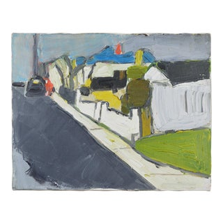 20th Century Abstract Oil Painting Neighborhood Street Scene For Sale