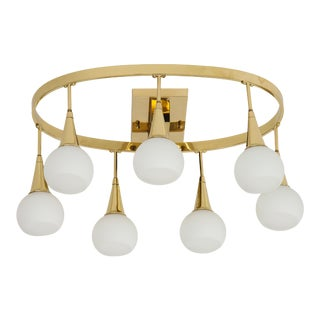 1960s Italian Brass and White Globe Chandelier For Sale
