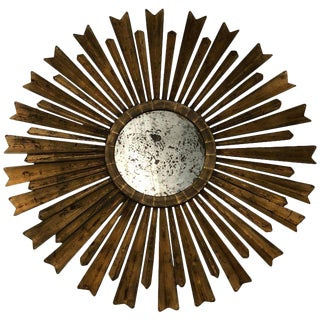 Vintage Sunburst Gilt Mirror For Sale