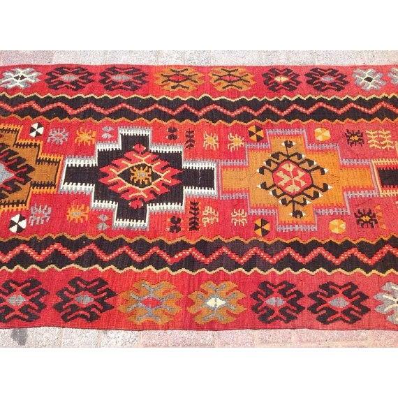 Vintage Turkish Kilim Rug - 3′2″ × 11′3″ - Image 4 of 6