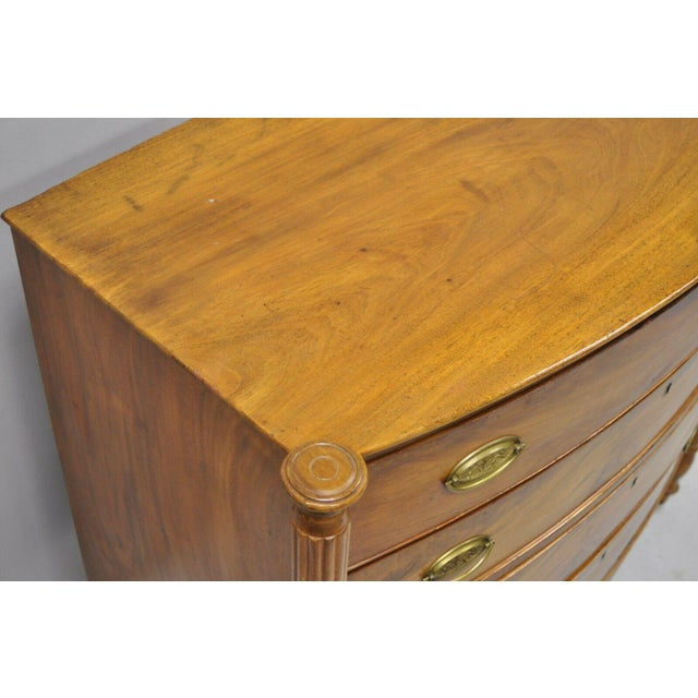 19th Century Sheraton 4 Drawer Mahogany Bow Front Chest Of Drawers For Sale - Image 4 of 13
