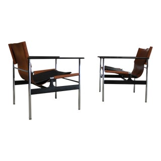 Charles Pollock for Knoll Chrome Lounge Chairs - a Pair
