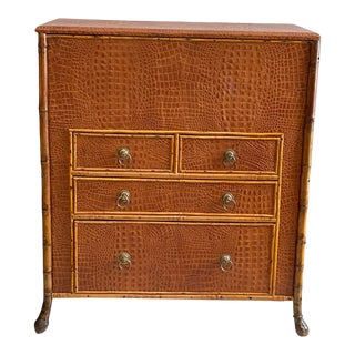 Victorian Bamboo Lift Top Chest With Faux Alligator Covering For Sale