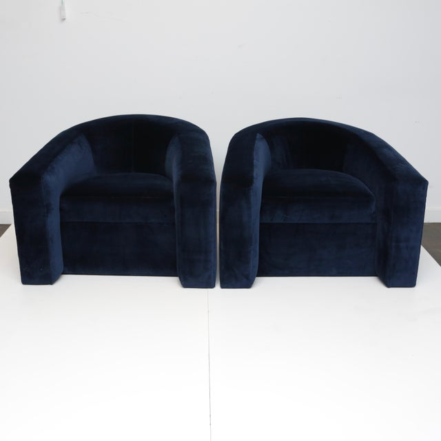 Pair of Velvet Tub Chairs For Sale - Image 11 of 11