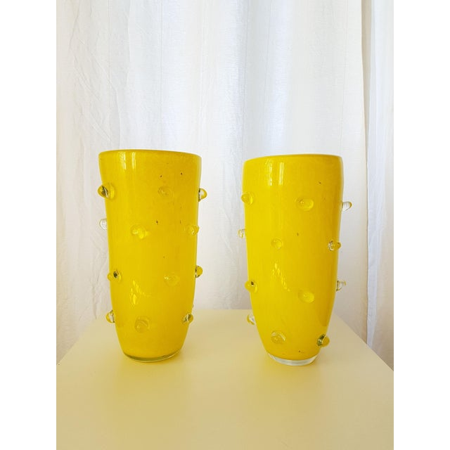 Glass Yellow Murano Glass Vases, 1980s, Attributed to Cenedese - a pair For Sale - Image 7 of 7