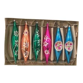 Fancy Blown Glass Teardrop Ornaments S/6 For Sale