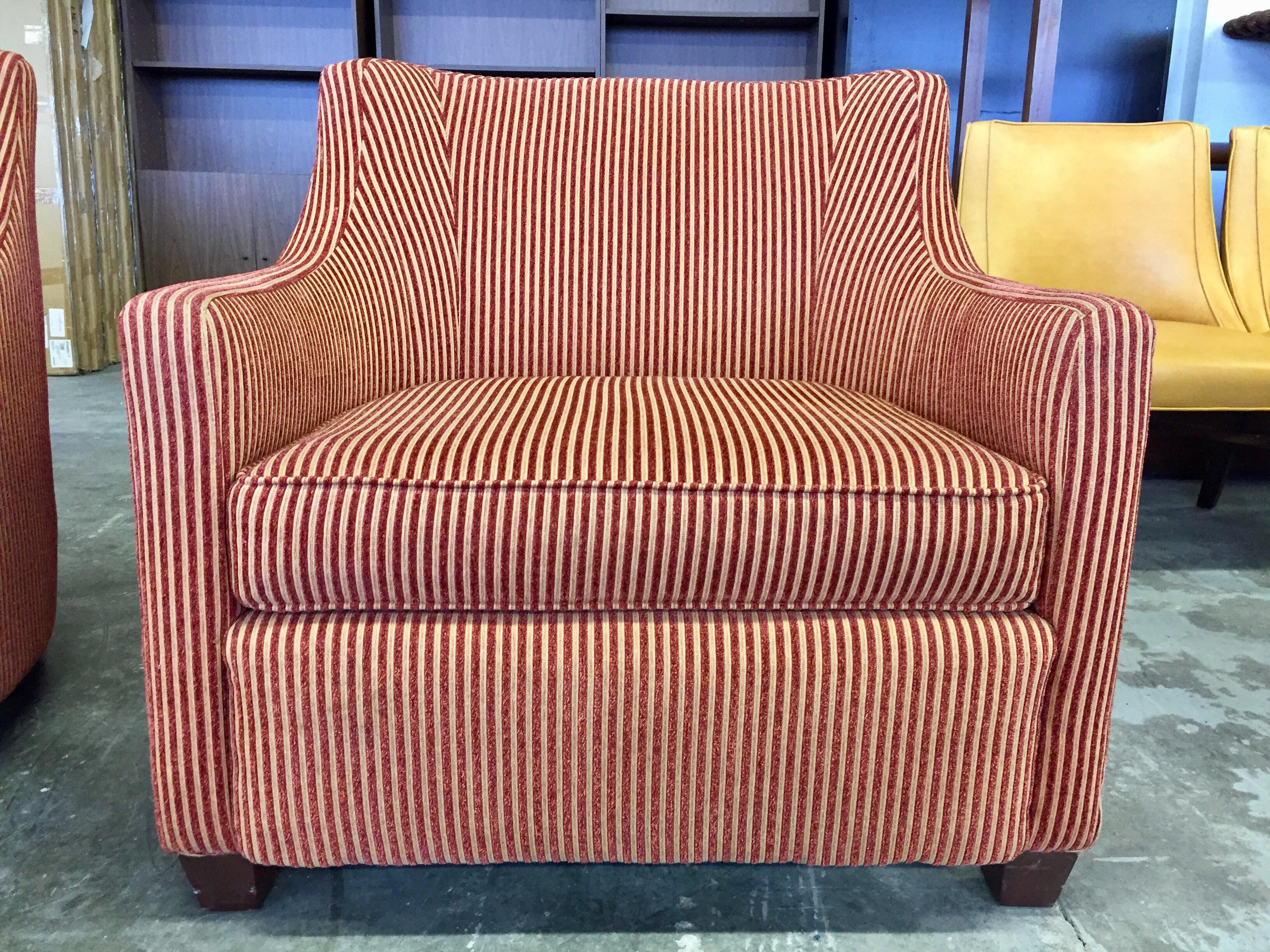 Charter Furniture Co. Wale Red U0026 Gold Corduroy Armchair   Image 2 ...