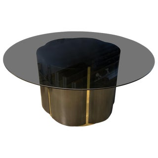 Brushed Steel and Brass Clover Table For Sale