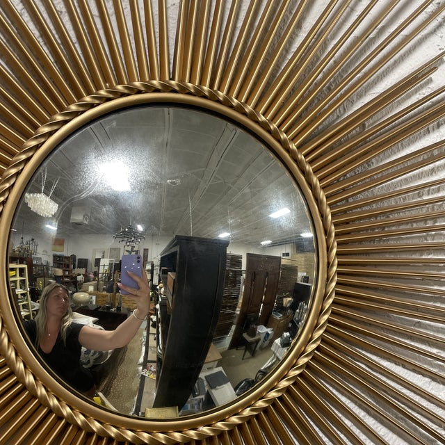 Late 20th Century Mid-Century Chaty Vallauris-Style Gilt Metal Sunburst Wall Mirror For Sale - Image 5 of 9