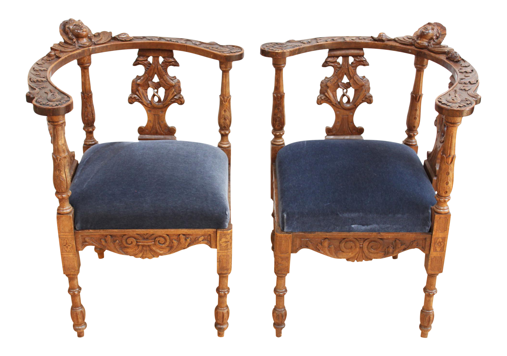 Superbe Carved English Corner Chairs   A Pair