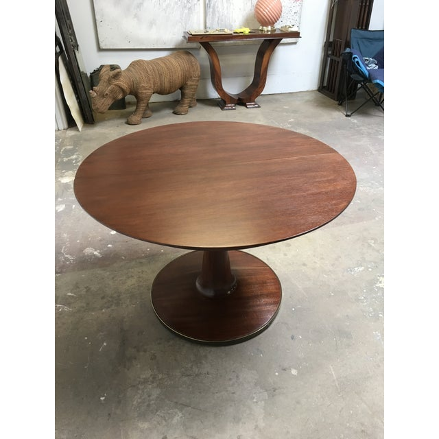 Coffee T.H. Robsjohn-Gibbings Expandable Round Mahogany Dining Table For Sale - Image 8 of 13