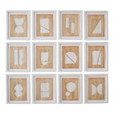 Image of Josh Young Design House Blanc Géométrique Collection Paintings - 12 Pieces For Sale