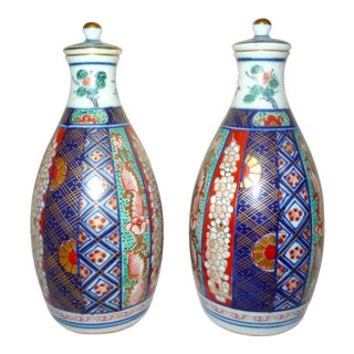 Antique Japanese Imari Porcelain Ceramic Sake Bottles - a Pair For Sale
