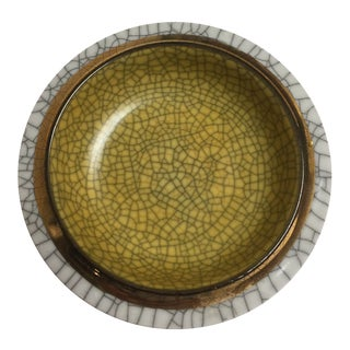 Vintage Crackled Bowl by Fitz and Floyd For Sale