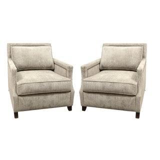 1990s Dark Taupe Upholstered Club Chairs - A Pair For Sale