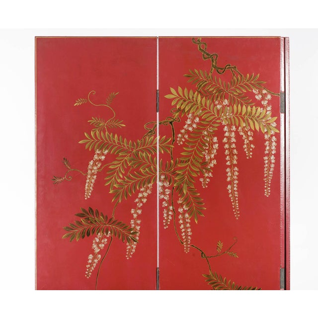 Lawrence & Scott Double-Sided Leather Burgundy Red Wisteria Scene Room Divider Screen by Lawrence & Scott For Sale - Image 4 of 13