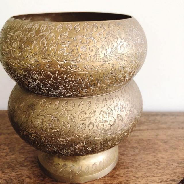 Vintage Indian Etched Brass Bowls - a Pair For Sale - Image 4 of 6