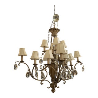 Fine Art Lamps 16 Light Iron + Crystal Chandelier For Sale