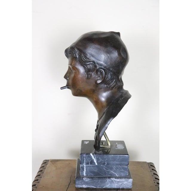 19th Century Italian Sculpture in Bronze Young Boy Signed G. De Martino For Sale - Image 4 of 9