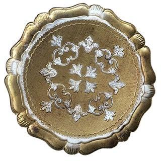 White & Gilt Florentine Tray For Sale