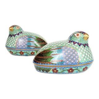 Chinese Cloisonné Quail/Partridges - a Pair