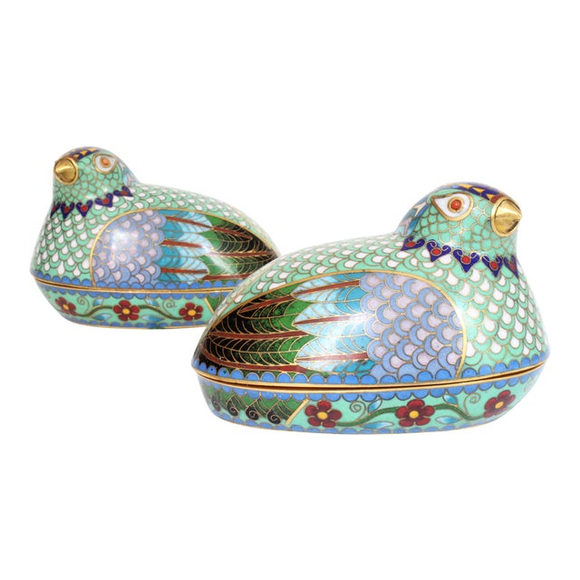 Chinese Cloisonné Quail/Partridges - a Pair For Sale
