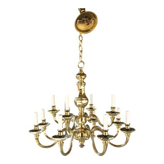 French Regency Style 2 Tier 12 Light Chandelier in Lacquered Brass Finish For Sale