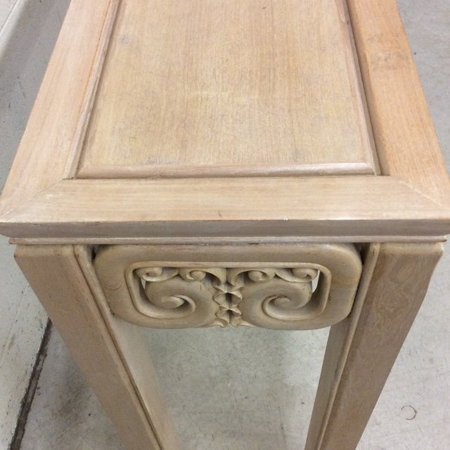 White Asian Style White Wash Wood Carved Console Table For Sale - Image 8 of 12