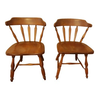 1950s Vintage Cushman Colonial Vermont Solid Hard Rock Maple Dining Chairs- A Pair For Sale